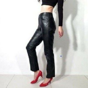 Vintage High Waist Genuine Leather Pants sz S